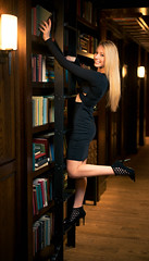 The Top Shelf.jpg (Darren Berg) Tags: library model female girl sexy black dress bodycon curves hallway ladder step heels high book books legs exposed shelf shelves butt