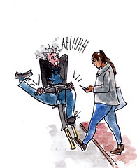 blik noch bloos (h e r m a n) Tags: herman illustratie tekening drawing illustration dagboek diary journal cyclist pedestrian collision accident fietser voetganger ongeluk aanrijding straat street mobilephone mobile mobiel telephone telefoon watch opletten crash smartphone