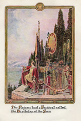 Birthday of the Sun becomes Christmas holiday (katinthecupboard) Tags: vintagechildrensillustrations 1937 johnrae raejohn winter cold