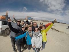 Photo de 14h - Avec Eric, Christine, Martine, Laurène, Thierry, Anaïs, Adrien et Myriam au cimetière de trains (Uyuni, Bolivie) - 13.08.2014
