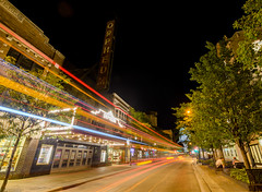 Orpheum (JakeRost) Tags: longexposure wisconsin night nikon cityscape nightscape madison lighttrails statestreet orpheum nikond7000