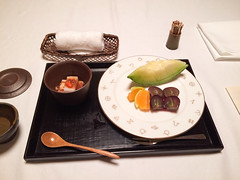 Izu, Japan (josewolff) Tags: red fall japan fruit dinner dessert autum sweet traditional seasonal towel toothpicks ryokan sweets jelly onsen japanesefood soybean melon redbean izu cantaloupe kaiseki shizuokaprefecture greenmelon yagyunosho walnuttofu