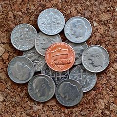 Dime A Dozen (spurekar) Tags: macromonday d dime beginswiththeletterd macromondays recession money cash coin wallet purse