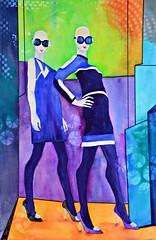 This Season (Cheryl Nelson Kellar) Tags: blue sunglasses fashion watercolor women bald windowdisplay womenare wwwcherylkellarcom