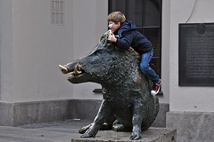 Boy on a Boar (AntyDiluvian) Tags: trip boy sculpture statue museum bronze pose shopping germany munich deutschland strasse posing german boar muenchen wildpig shoppingdistrict 2015 shoppingarea pedestrianzone kaufingerstrasse huntingandfishing