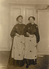 Emmeline and Christabel Pankhurst in mock prison garb, 1908.