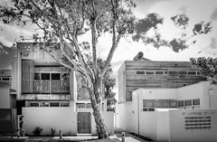 Public Housing, Warragul (phunnyfotos) Tags: bw house building tree home architecture mono nikon apartments balcony australia monotone victoria domestic housing vic residence residential governmenthousing letterboxes gippsland publichousing units socialhousing warragul 2011 3820 austpctagged pc3820 d5100 nikond5100 phunnyfotos solarhws welfarehousing