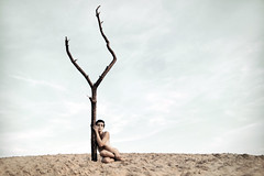 clinch (laura zalenga) Tags: old light woman sun selfportrait tree berlin nature girl last sand alone branch desert body dune dry trunk hold clinch bole laurazalenga