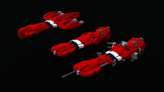 Voyager Class Frigate Sketches (bluemoose) Tags: red lego space micro nano frigate voyagerclass bluerender rufescentimperium