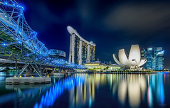 Sparkling City of Singapore (Martin Yon) Tags: city longexposure travel bridge urban architecture marina bay singapore nightscape helix sands mbs martinyon