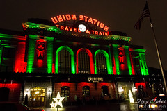 Denver Union Station in red and green for the season