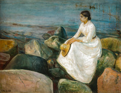Edvard Munch - Summer Night - Inger on the Beach, 1889 at KODE Art Museum Bergen Norway (mbell1975) Tags: summer art beach netherlands amsterdam norway museum night painting gallery museu fine arts muse musee norwegian edvard impressionism museo nl bergen inger munch impression impressionist muzeum 1889 noordholland kode finearts beaux beauxarts mze gallerie musum