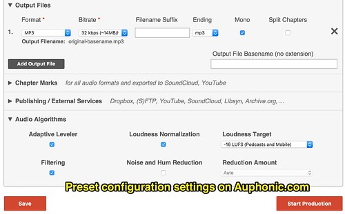 Preset Configuration Settings in Auphoni by Wesley Fryer, on Flickr