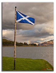 Saltire Knoydart and a Rainbow_4807 (The Terry Eve Archive) Tags: saltire scotland flag knoydart rainbow refraction isleornsay skye island westcoast lighthouse mountains