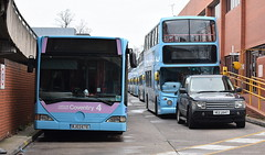 Rows of buses at National Express Coventry garage (paulburr73) Tags: coventry nxc busdepot rows queues bendibus articulated bus buses depot garage wt cv wheatleystreet nationalexpress 2016 november alx400 mercedesbenz o530g citaro dennis trident doubledeckers bj03ete 6018 fordstreet entrance transport urban city citycentre alexander ab56d sunday