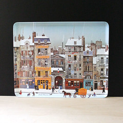 Paris in Winter. (Kultur*) Tags: vintage vintagehousewares kitchen dining tray trays melaminetray housewares delacroix frenchvillage houses france drawing french scene paris street winter