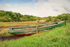 Moored red & green wooden rowing boat (shugsfishing) Tags: ashore beached boat dinghy europe flakingpaint green highlandregion lochnanceall lochaber moored paint painted red rowingboat scotland southmorar tiedup unitedkingdom woodenboat woodendinghy woodenhull gb