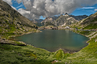 The Great Saint Bernard Pass in the a sunny day. Switzerland a view to Italy.August 16. 2013.  No, 7845.