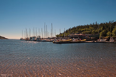 Port de Tadoussac (Québec, Canada) (Andrea Moscato) Tags: andreamoscato canada america water freshwater acqua waves pier boat harbor porto marina sunrise morning reflection fiume river trees alberi barche nature natura national nationalpark landscape paesaggio blue green view vista vivid sky light shadow day
