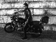 Sriram (tacosnachosburritos) Tags: triumph bonneville t100 chicago il illinois viaduct motorcycle 865cc windy city urban gritty bike biker sexy hunk man actor model handsome attractive guy dude bloke chap hot