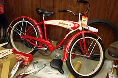 C05630Wg (centerprairie) Tags: red 1948 bicycle stand tank balloon ivory tire chrome spitfire brake pedals handlebar horn schwinn 20 coaster juvenile rods 1949 saddle dx truss grips bendix 24