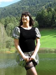 Stocking check (Paula Satijn) Tags: summer sun lake holiday mountains hot sexy stockings girl silver fun outside happy austria shiny dress legs skirt tgirl miniskirt gurl