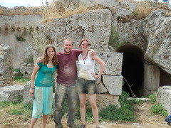Caroline, Matt, and Amanda after exploring some of the ancient fountain tunnels at the Fountain of Lerna