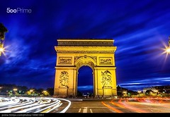 Arc de Triomphe Blue Hour (patblack127) Tags: road city travel blue light sky paris france history car architecture night clouds canon streetlight long exposure arch arc triomphe citylife fil bluesky voiture illuminated route exposition ciel hour transportation triumphalarch rushhour poteau pav 75 nuit arcdetriomphe iledefrance etoile panneau onthemove taillight heure bleue longue lumire traveldestinations famousplace modeoftransport internationallandmark frenchculture builtstructure canoneos5dmarkii clairage