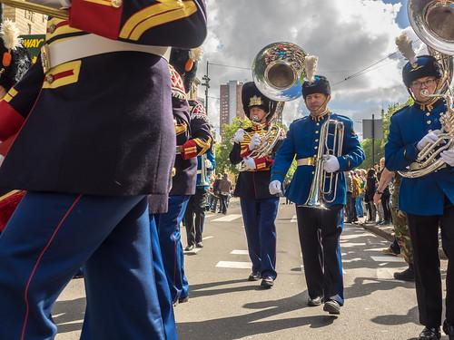 Historische Jachthoorn, tamboer en trompetterkorpsen Nationale Taptoe 2015 - Coolsingel - Rotterdam