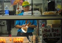 Corn Dogs, Walworth County Fair (Cragin Spring) Tags: people food usa man window wisconsin rural unitedstates unitedstatesofamerica fair vendor hotdogs countyfair wi corndogs elkhorn concession 2015 southernwisconsin walworthcountyfair elkhornwi walworthcounty elkhornwisconsin