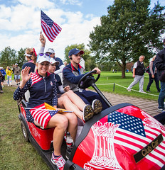 Paula Creamer of the USA rides a buggy to the clubhouse celelbratein Team USA's victory (Ladies European Tour) Tags: germany heidelberg deu creamerpaulausa