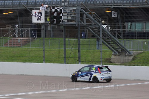 Aaron Thompson wins Race 2 at the BRSCC Fiesta Junior Championship, Rockingham, Sept 2015