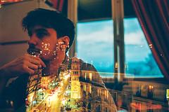 Heavy Gloom (Louis Dazy) Tags: city portrait film night analog 35mm dark photography nikon exposure sad streetlights double exposition 100 f2 pushed ektar