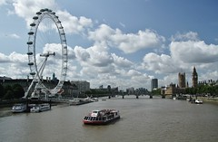 The Thames (sonofwalrus) Tags: uk england slr london tower clock water wheel ferry thames clouds canon river housesofparliament londoneye bigben clocktower riverthames eos7d