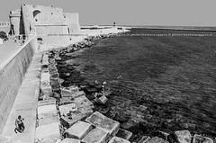 Perspective (barbintravel) Tags: street city sea summer people urban italy monochrome blackwhite italian bath streetphotography puglia sunbathing apulia