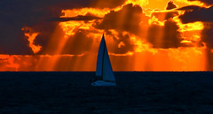 sailing in a stormy sunset - Tel-Aviv beach (Lior. L) Tags: sunset sea storm sailboat sailing stormy