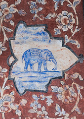 detail of a painted ceiling with an elephant in bagh-e tarikhi-ye fin garden, Isfahan Province, Kashan, Iran (Eric Lafforgue) Tags: elephant detail tourism beautiful vertical architecture painting photography design mural day pattern iran drawing decorative painted islam decoration visualarts middleeast culture persia nobody nopeople palace ceiling historic unescoworldheritagesite ornament pavilion iranian exquisite ornate abbas kashan fresco geographic touristattraction decorated adornment ornamentation adorned artandcraft traveldestinations persiangulfstates fingarden   16295 colourimage  iro isfahanprovince  baghefin westernasia