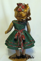 Back View of 1950s Christmas Dress (Keepersdollyduds) Tags: christmas dress 1950s frock plaid rayon moire bows maryellen bias keepers americangirldoll keepersdollyduds