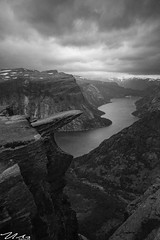 Trolltunga (alexmx22) Tags: highiso norway trolltunga water bw mountain clouds ringedalsvatnet odda cliffs nikon d600 handheld sigma1224mm blackandwhite monochrome outdoor landscape