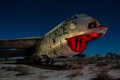 Grinning Death (dejavue.us) Tags: lightpainting longexposure california nightphotography nikon desert d800 180350mmf3545 aircraft airplane fullmoon mojavedesert nikkor abandoned b52 vle