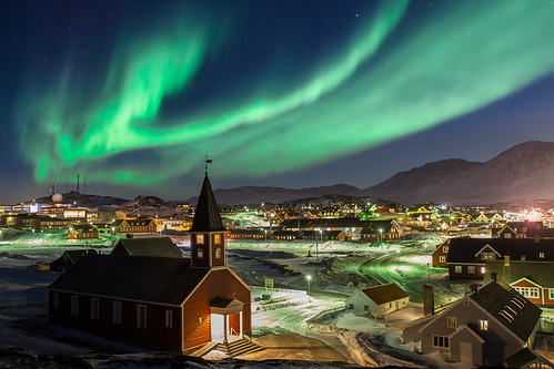 Aurora Borealis above Church of Our Saviour in Nuuk