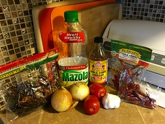 Orange Sauce Fixins (Hot Sauce) (simbajak) Tags: orangesauce hotsauce tomato garlic applecidervinegar red peppers dried new mexico chili arbol vegetable oil yellow onions chilidearbol