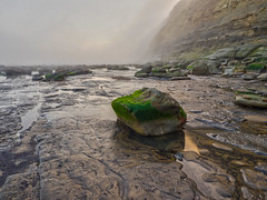 Rock pools on a misty morning (Cornish Northerner) Tags: rocks beach cliffs sea nature reflection mist fog moss seaweed