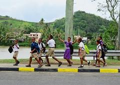 Schools Out (jimjiraffe) Tags: schoolsout school afterschool sigatoka village walk home fiji west coralcoast fuji fujifilm xs1 jimjiraffe