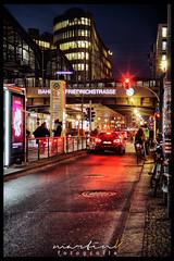 Friedrichstrae (Krueger_Martin) Tags: canoneos7d sigma30mmf14exdchsm sigma 30mm weitwinkel wideangle city stadt berlin urban traffic verkehr strase street friedrichstrase car auto langzeitbelichtung light lights licht hdr photomatix colorful bunt farbig architecture architektur