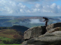 climber (jeff.dugmore) Tags: peakdistrict derbyshire england nationalpark rural nature hike walking serene outside burbage moor moorland climber gritstone rope sky olympus clouds field autume