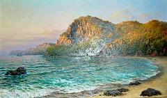 Le matin la baie de Hwangjin - O Jong Ik (nokoredstar) Tags: aquarelle peinture coréedunord pyongyang paysage broderie