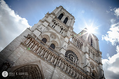 Notre Dame cathedral with puffy clouds, Paris, France (doctor.calavera) Tags: ancient france arch church water de tourist dome dam summer attraction tree catholic twilight outdoors gothic parisian spire statue view seine noter medieval sunrise sunset notredame river european daylight cathedral cityscape christianity evening golden dusk sculpture exterior notre city sky paris french cloud gargoyle landmark dame green tower europe basilica tourism