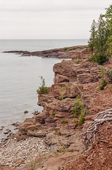 Rocky Cliffs Of Lake Superior (J&E Adventures) Tags: landscape uppermichigan marquette cliffs exploring up canon 35mm film michigan trees canona1 coastline puremichigan michigancoast ishootfilm filmphotography upperpeninsula lakesuperior nature rocks
