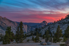 Olmsted Point Sunset (jlm0506@att.net) Tags: trees sunset sky mountains clouds landscape nationalpark halfdome yosemitenationalpark cloudscape cloudsrest olmsteadpoint mountainsunset glacialerratics canon6d